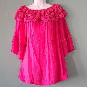 IRE Fashion Crochet Hippy Guaze Top Hot Pink 2XL